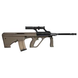 STEYR Arms AUG Army SA, .223 Rem, Olive, Original 1.5x Optik, 508mm, Mündungsbremse, 9 Schuss